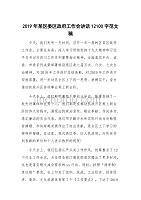 2019年某区委区政府工作会讲话12100字范文稿