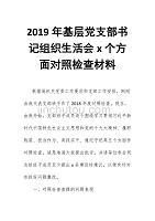 2019年基層黨支部書記組織生活會x個方面對照檢查材料