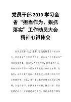"""黨員干部2019學習全省""""擔當作為、狠抓落實""""工作動員大會精神心得體會"""