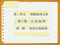人教初中政治八年级下册-3.2依法行使权利-(精品)