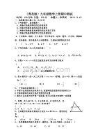 青岛版九年级数学上册期中测试